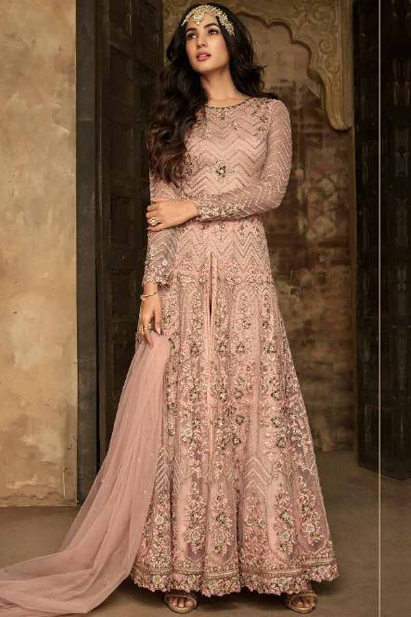 744942e52d Thumbnail Image of Dusty Pink Net Anarkali Suit With Resham Work Display  Gallery Item 1 ...