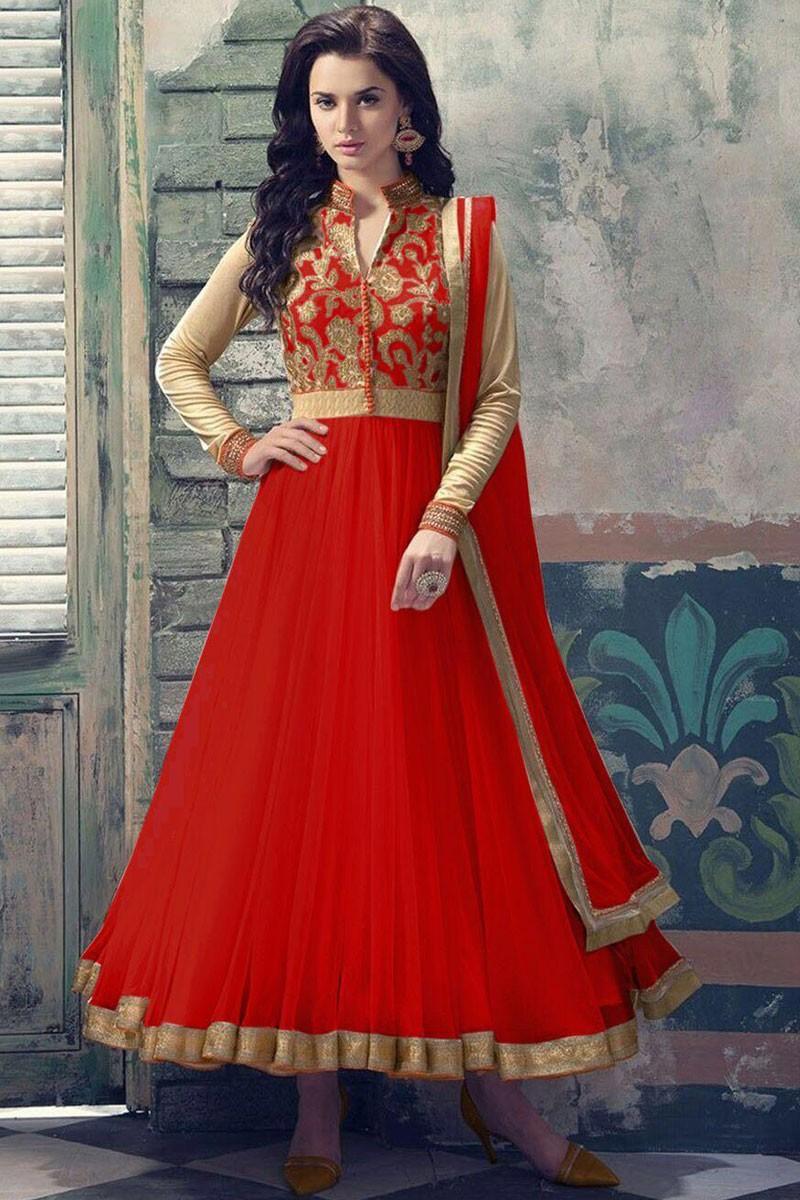 1d9fe660d5 Buy Red Soft Net Anarkali churidar suit Online - 1708-a | Andaaz Fashion