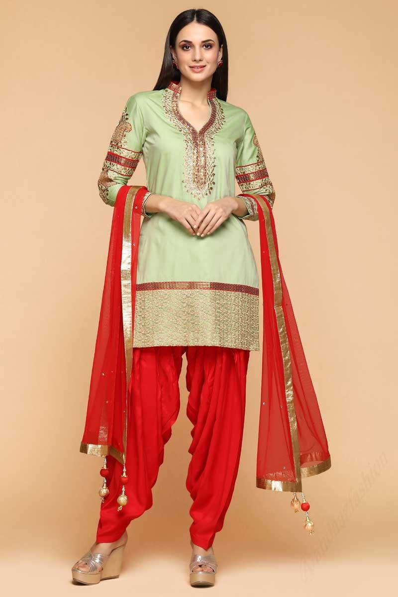 0110c9b81a ... Silk Patiala Suits In Celadon Green Color Display Gallery Item 1 ...