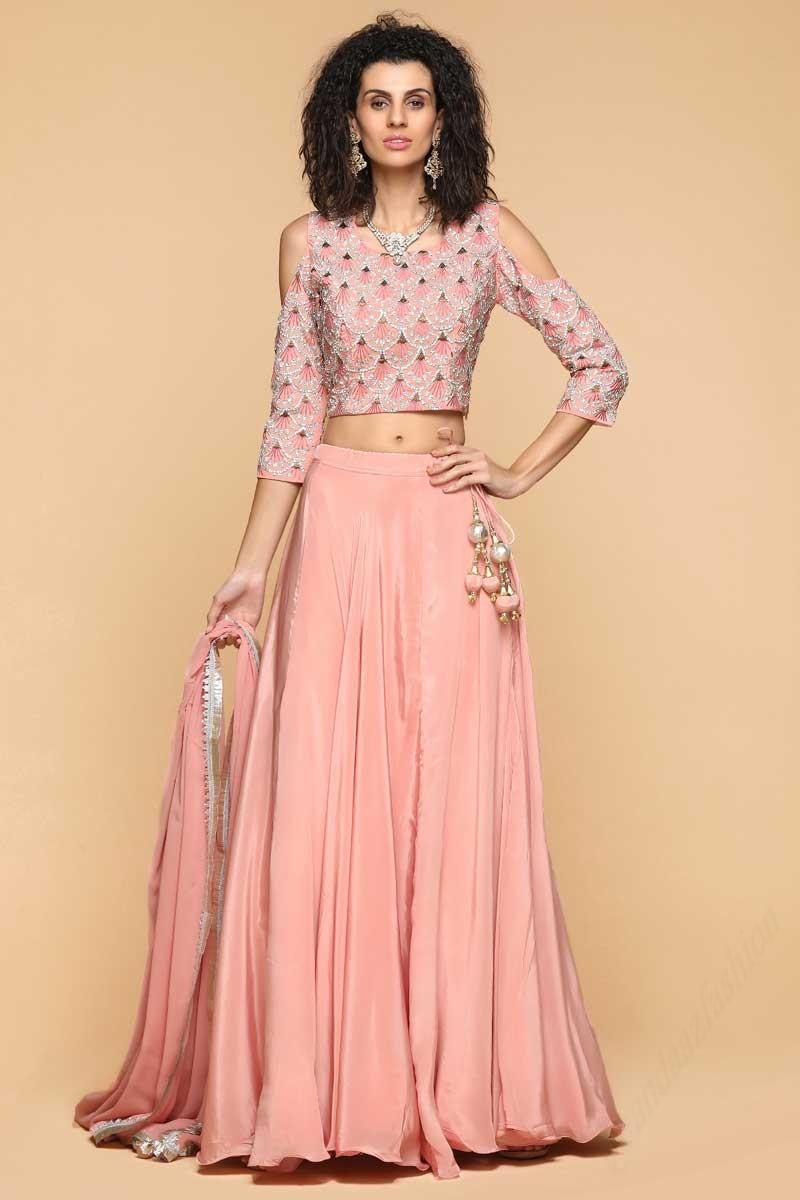 c82759d70f Buy Readymade Peach Pink Lehenga Choli Online
