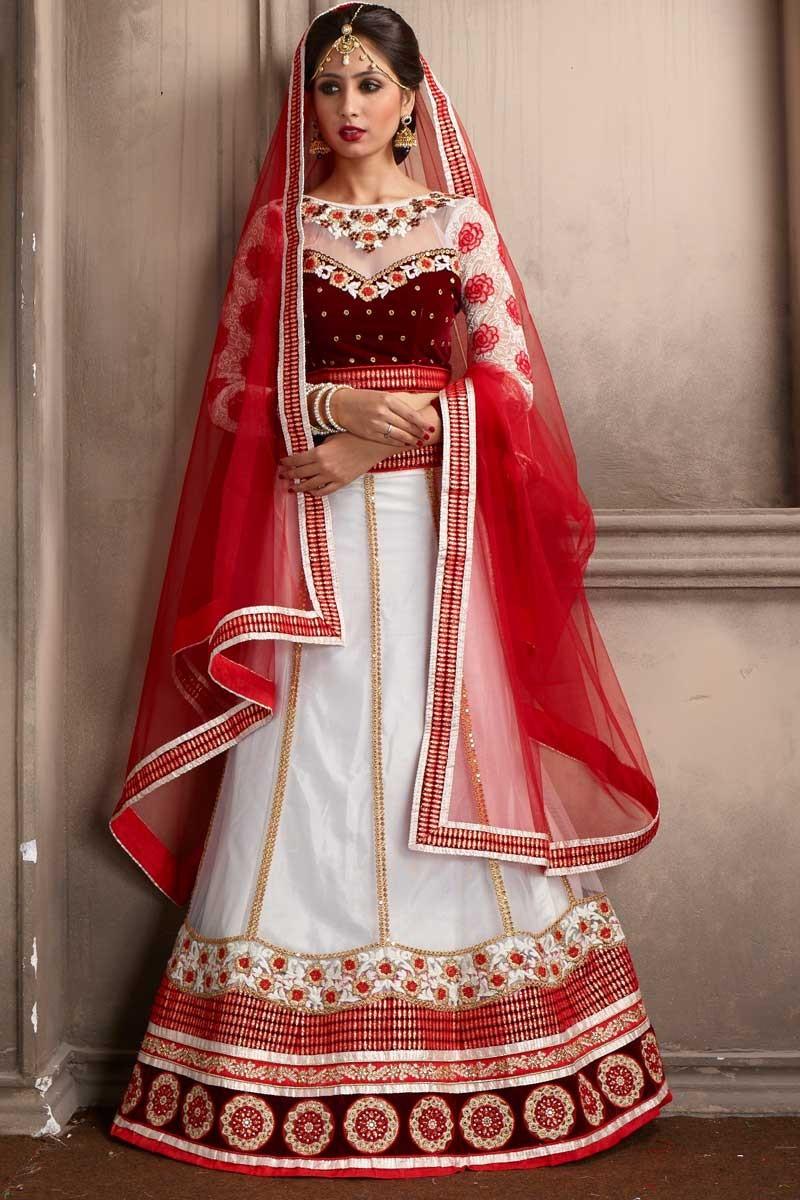 Designer Off White Velvet Chaniya Choli Dmv10012