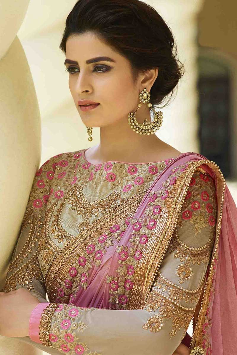 51c5989091858b Buy Latest Designer Pink Silk Saree With Blouse Online Shopping ...