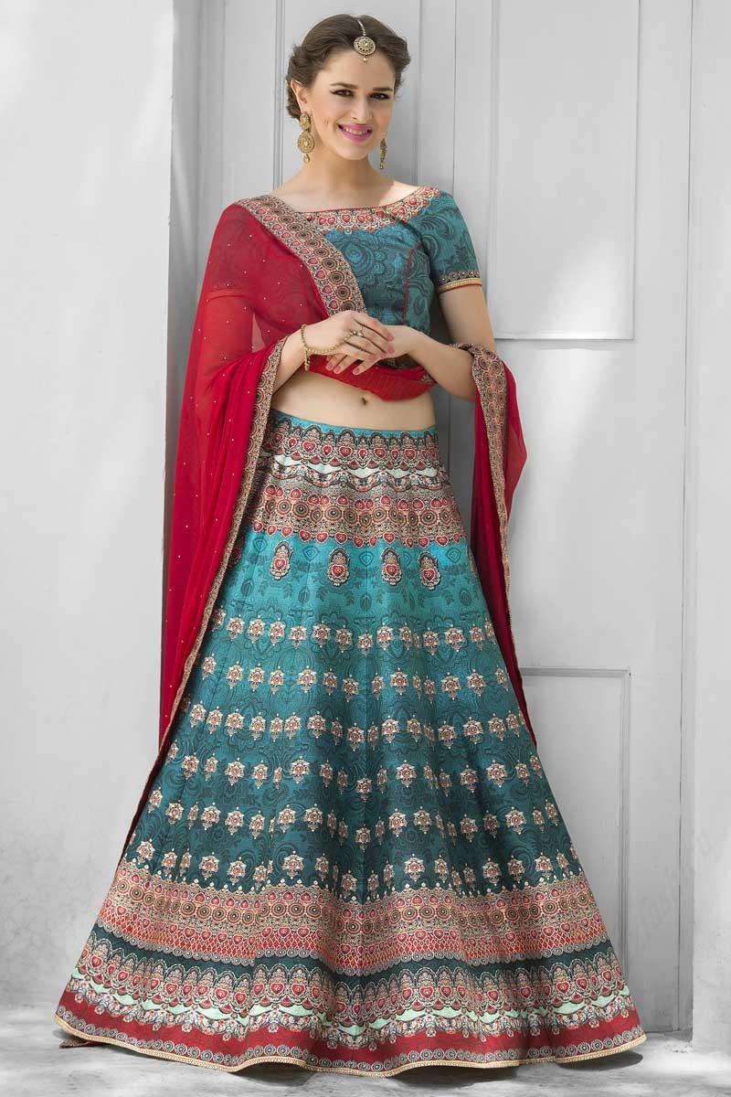 561d46a074 Wedding Embroidery Sky Blue Premium Heritage Silk Lehenga With Choli ...