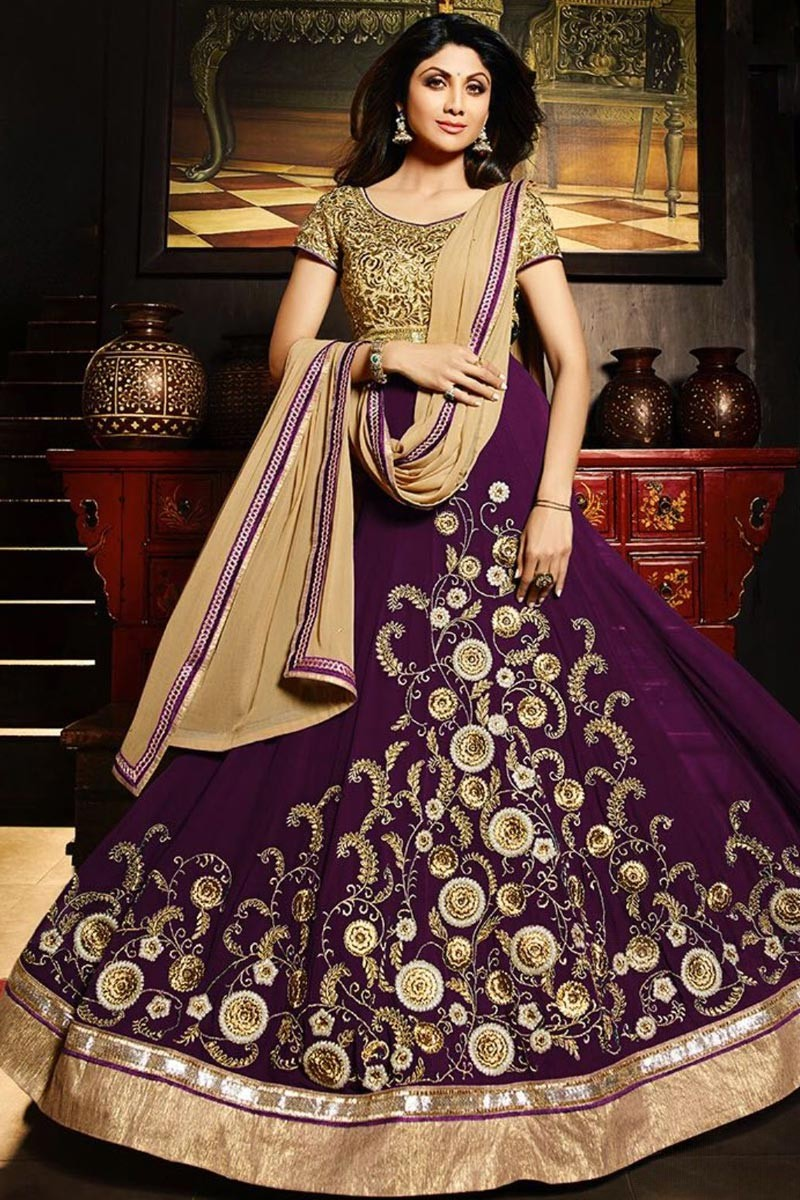 1b7d50679 Buy Bollywood Celebrity Shilpa Shetty Purple Georgette Anarkali Suit ...