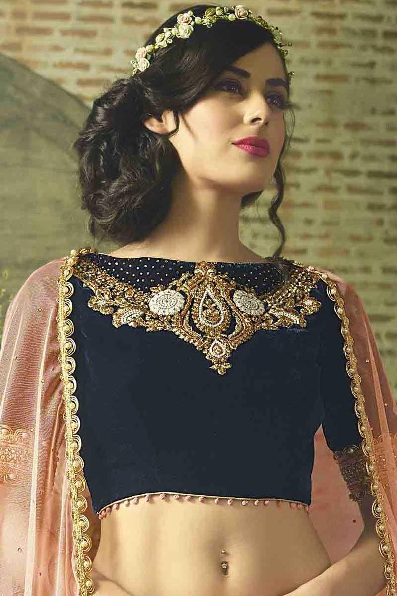Lehenga Wedding Dress Navy Blue Velvet Lehenga With Velvet Choli Dmv11132