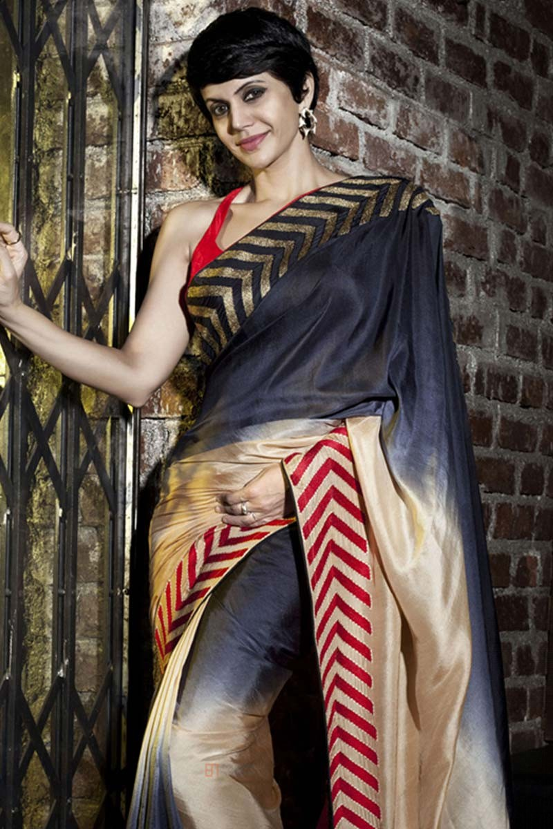 f6a92c9fe Mandira bedi multi color Georgette Saree With Raw silk Blouse