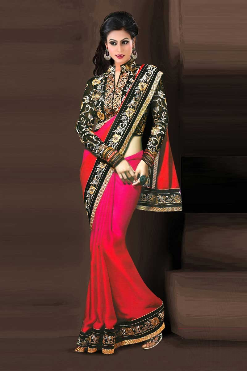 69ac70569efc02 ... Chiffon and satin Saree With Raw silk Blouse Display Gallery Item 1 ...