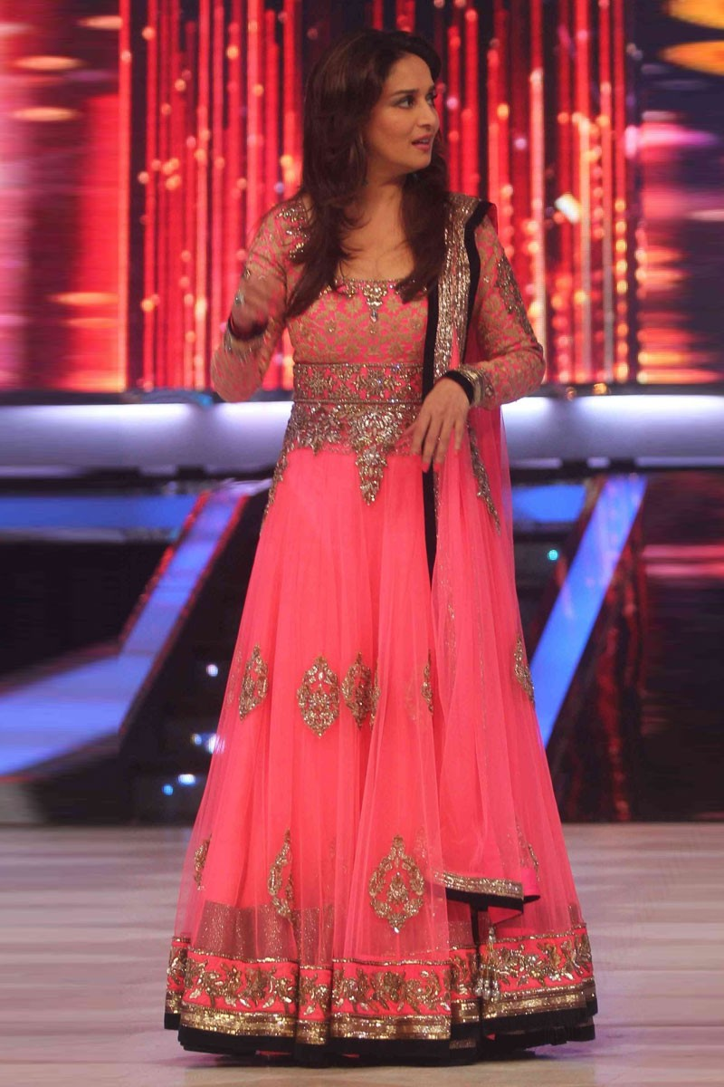 6a279a03f6 Thumbnail Image of Bollywood Madhuri Dixit Pink Net Anarkali Churidar Suit  Display Gallery Item 1 ...