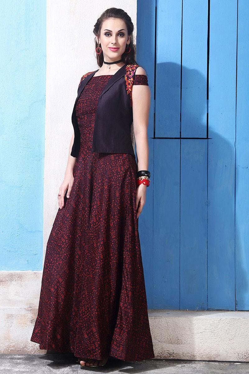 Online Garnet red anarkali gown with thread work work   DMV12536