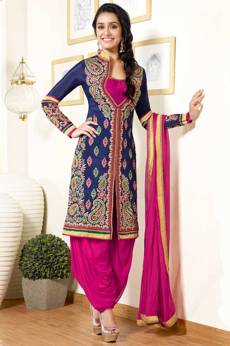 202c8ae88ad Buy Shraddha Kapoor Navy Blue Crepe Patiala Suit With Dupatta Online ...