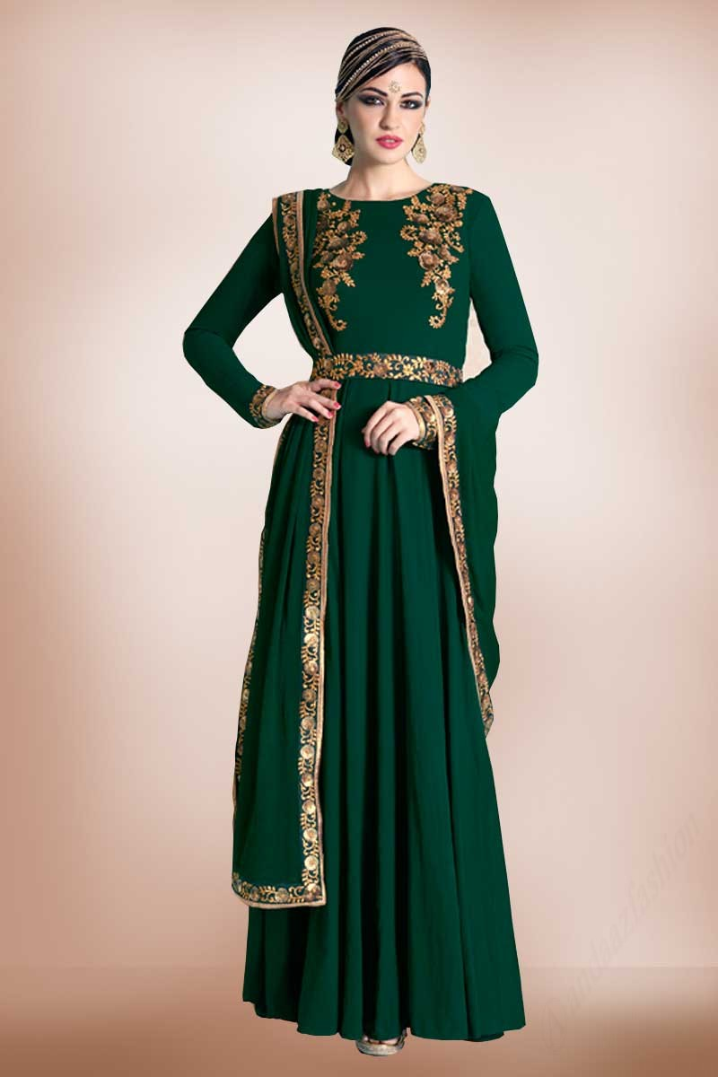6553a211f0 ... Bottle Green Embroidered Dress With Dupatta Chiffon Display Gallery  Item 1 ...