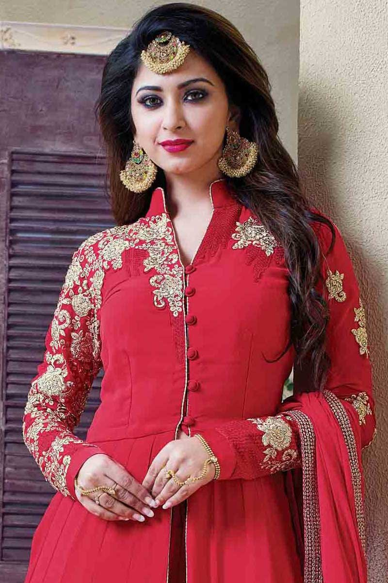 b69ed04671 Indian Ethnic Red Georgette Anarkali Churidar Suit With Dupatta ...