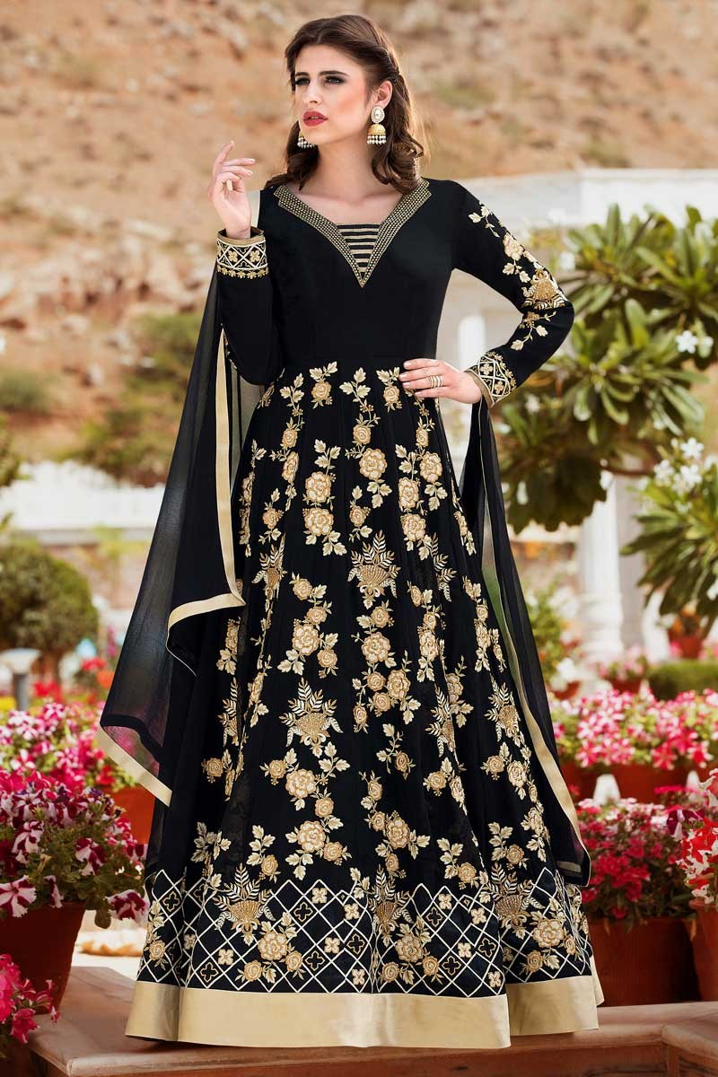 6d6f88c8909 Thumbnail Image of Black Faux Georgette Anarkali Churidar Suit With Dupatta  Display Gallery Item 1 ...
