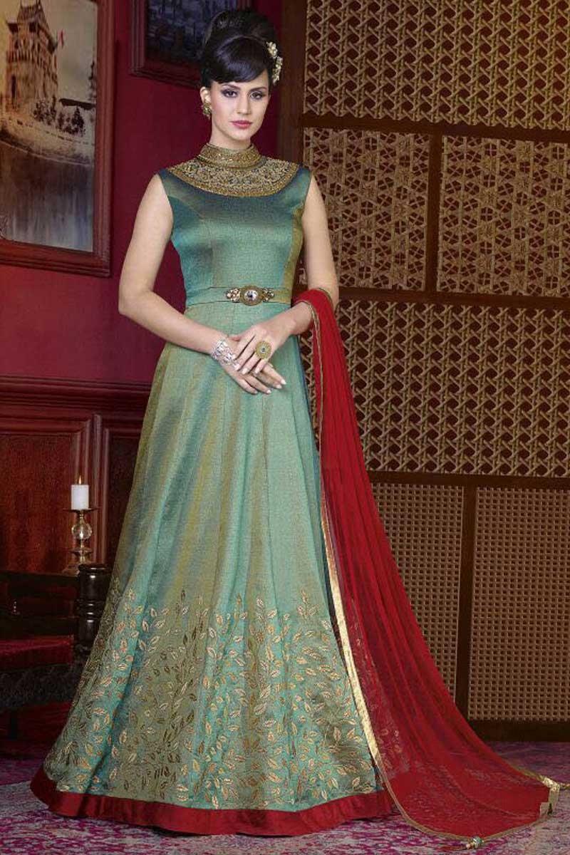 c561157f04 Designer Silk Gown Dress In Apple Green Color - Dmv15160