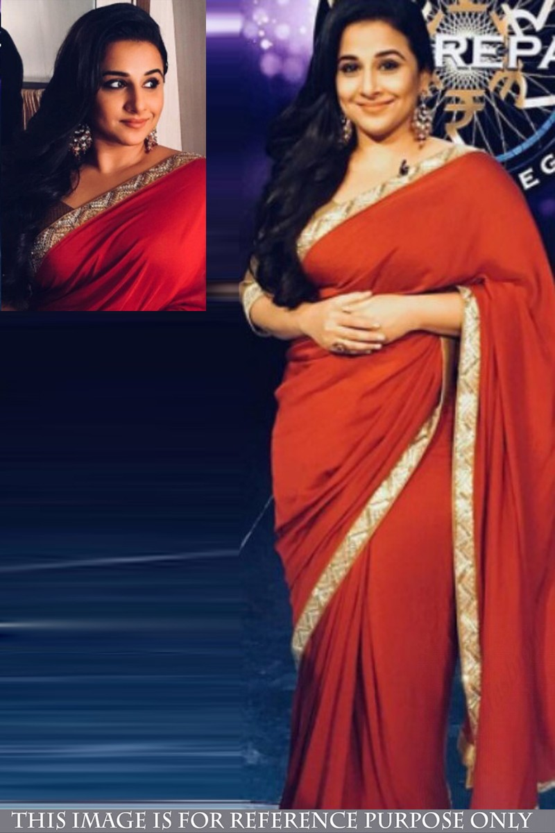 1edbf656f146a7 Bollywood Vidya Balan Red Georgette Saree With Silk Blouse | DMV15530