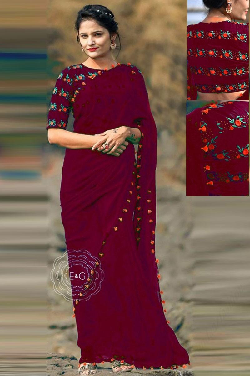 d5db83d848 Maroon Georgette Saree With Banglori Silk round neck Blouse - Dmv15648d