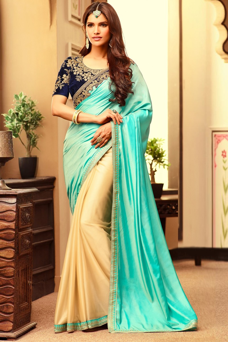 Sea green and beige Chiffon and silk Saree With Velvet Blouse