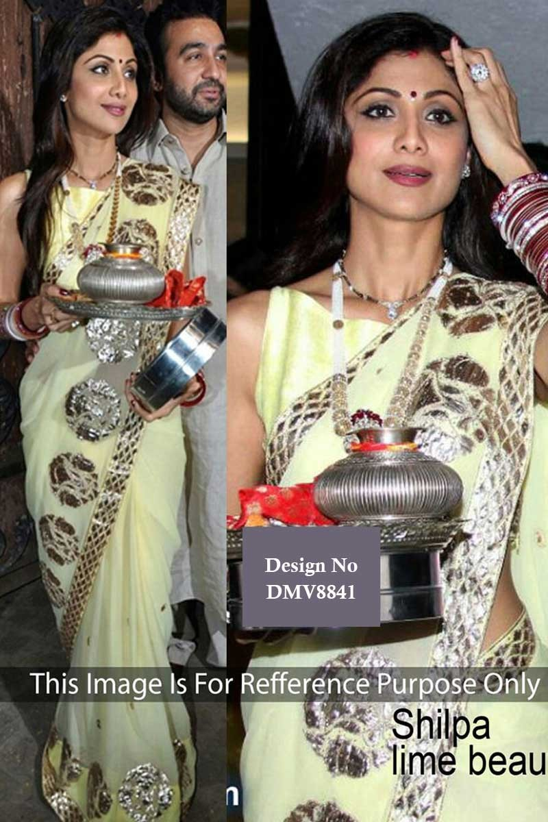 Shilpa Shetty Designer Collection Embroidered Sari Boat Neck Blouse You may not have shilpa's body type, but you read on to find out how shilpa shetty looks so good in her blouses and copy the same for the seasonal weddings. shilpa shetty lime green georgette saree with georgette blouse