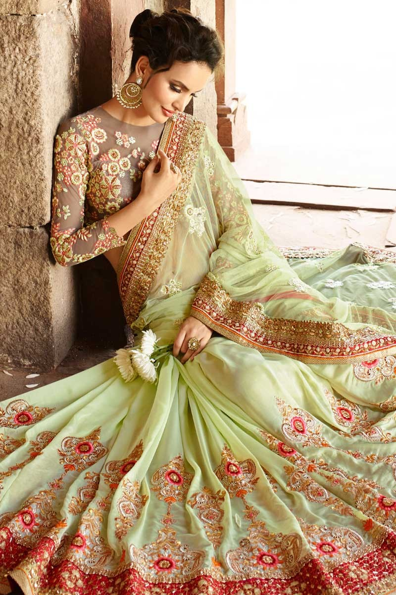Buy Latest Sarees Online Pista Green Net Embroidered Sarees Online