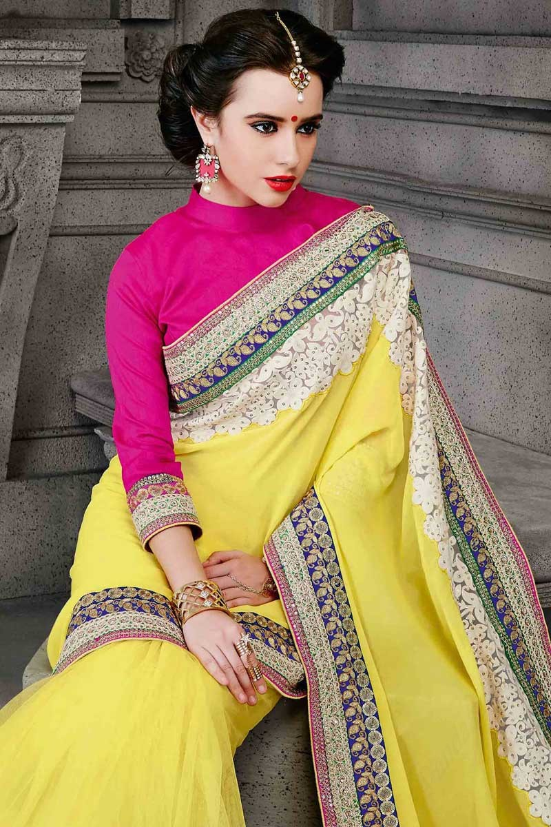 6a2358eeef7ca5 Yellow Net and faux georgette Saree With Dupion Blouse