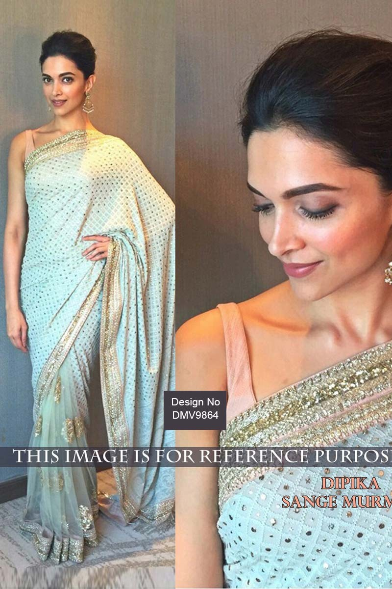5b8ff4968ba1d7 Deepika Padukone Bollywood Light Blue Georgette Latest Sarees - Dmv9864