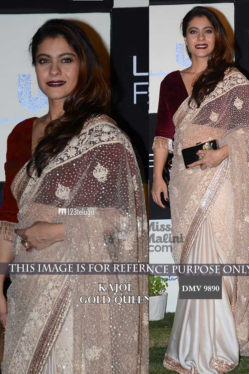 Bollywood Actress Kajol Off White Georgette Saree For Diwali Dmv9890