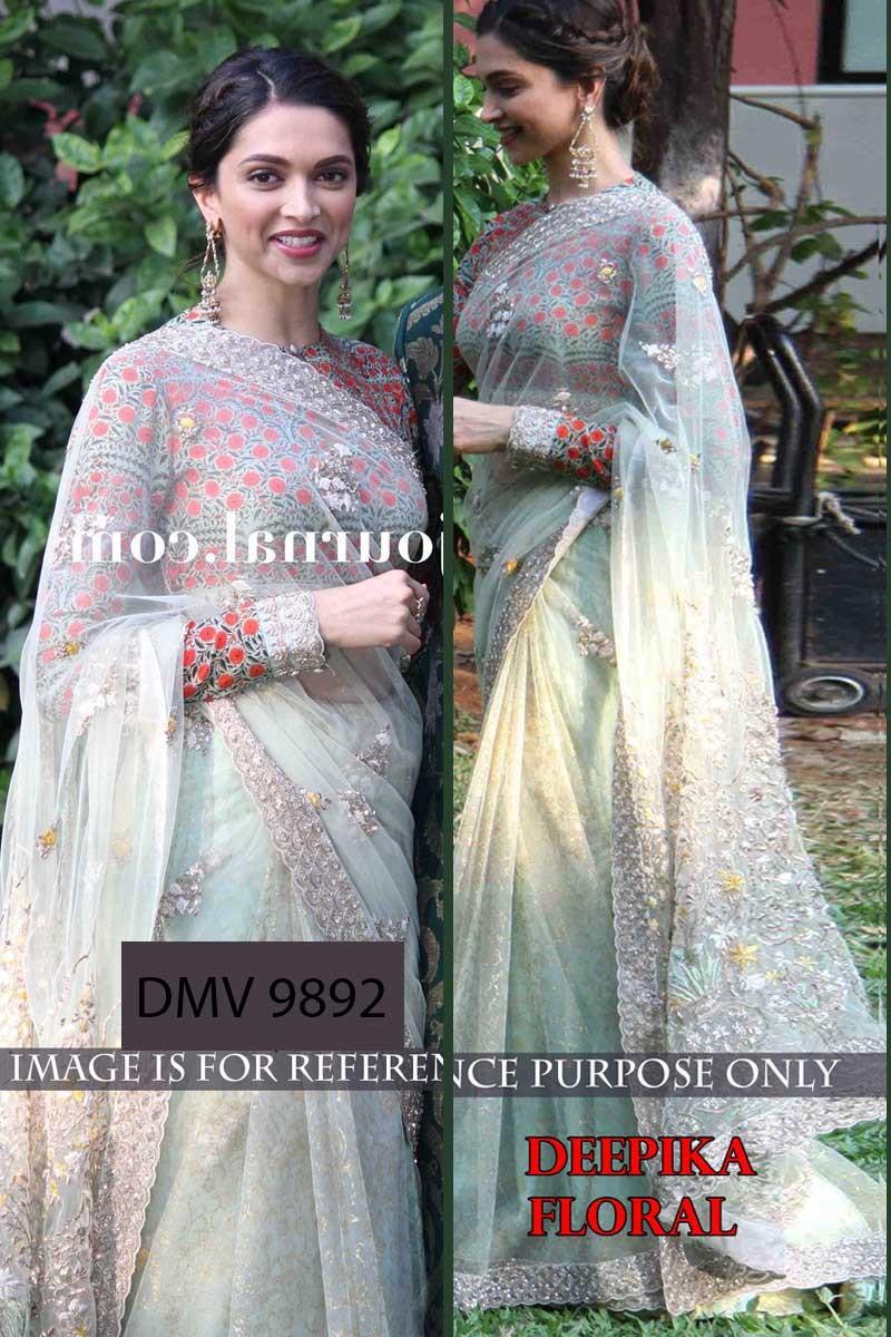17fc01eb308c5e Deepika Padukone Light Green Net Embroidered Saree - Dmv9892