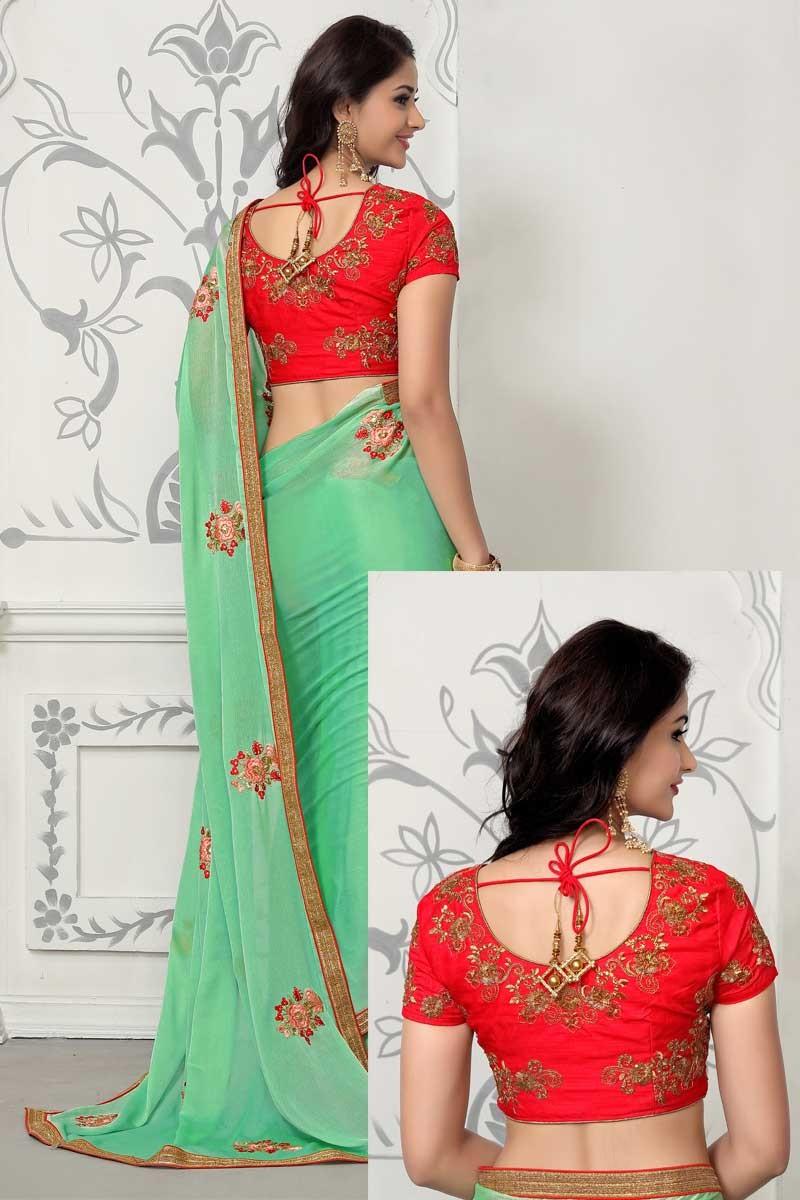 c14343257da4c Best Green Chiffon Saree With Banglori Blouse - Dmv12294