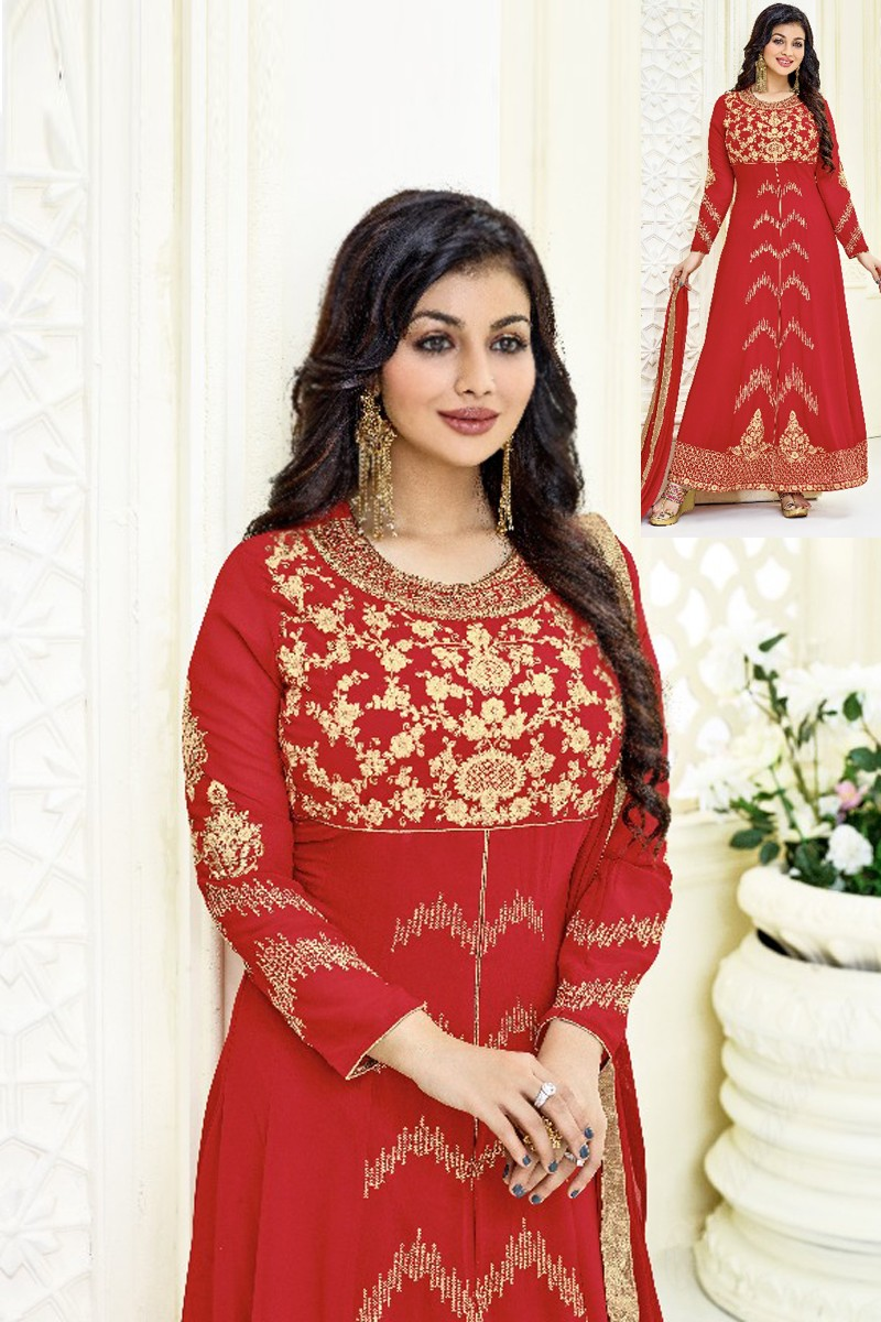 2d1bdbe60a Buy Bollywood Red Ayesha Takia Faux Georgette Anarkali Suit With Dupatta -  Dmv15221