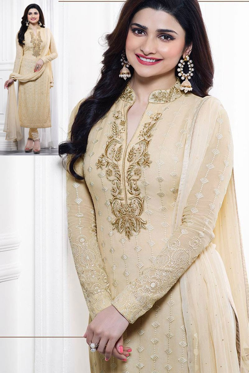 d3c38239bf Embroidered Prachi Desai Cream Georgette Churidar Suit - Dmv14726