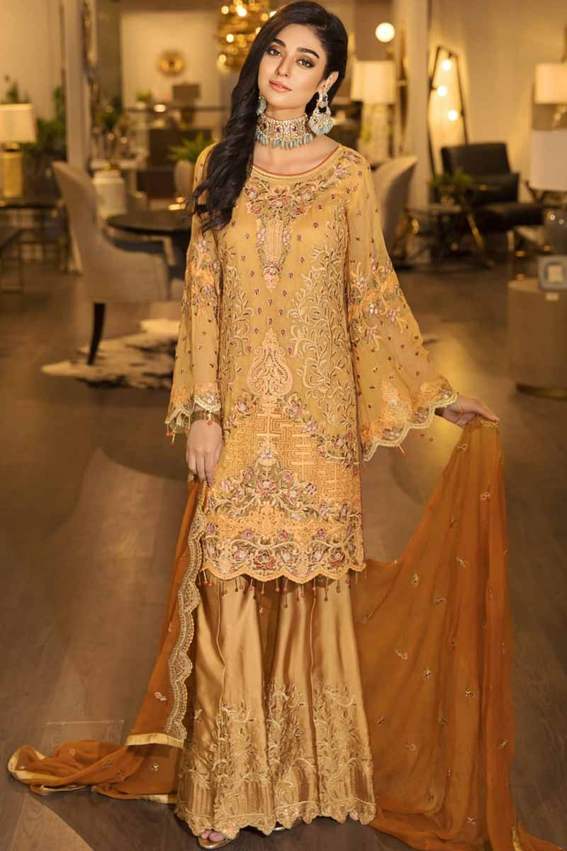 86b8be39c3 Thumbnail Image of Embroidered Mustard Golden Palazzo Pant Suit Display  Gallery Item 1 ...