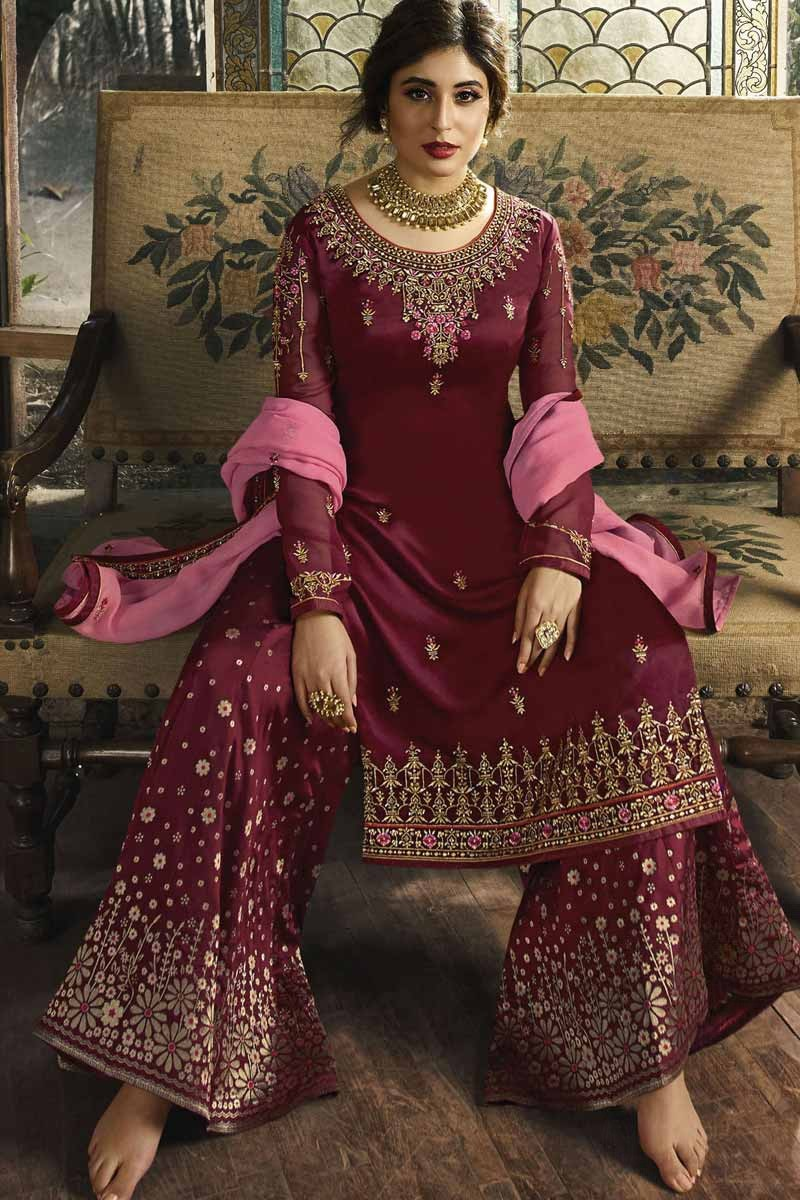 11bf16a4b12 Buy Embroidered Maroon Palazzo Pant Suit Online - LSTV02063