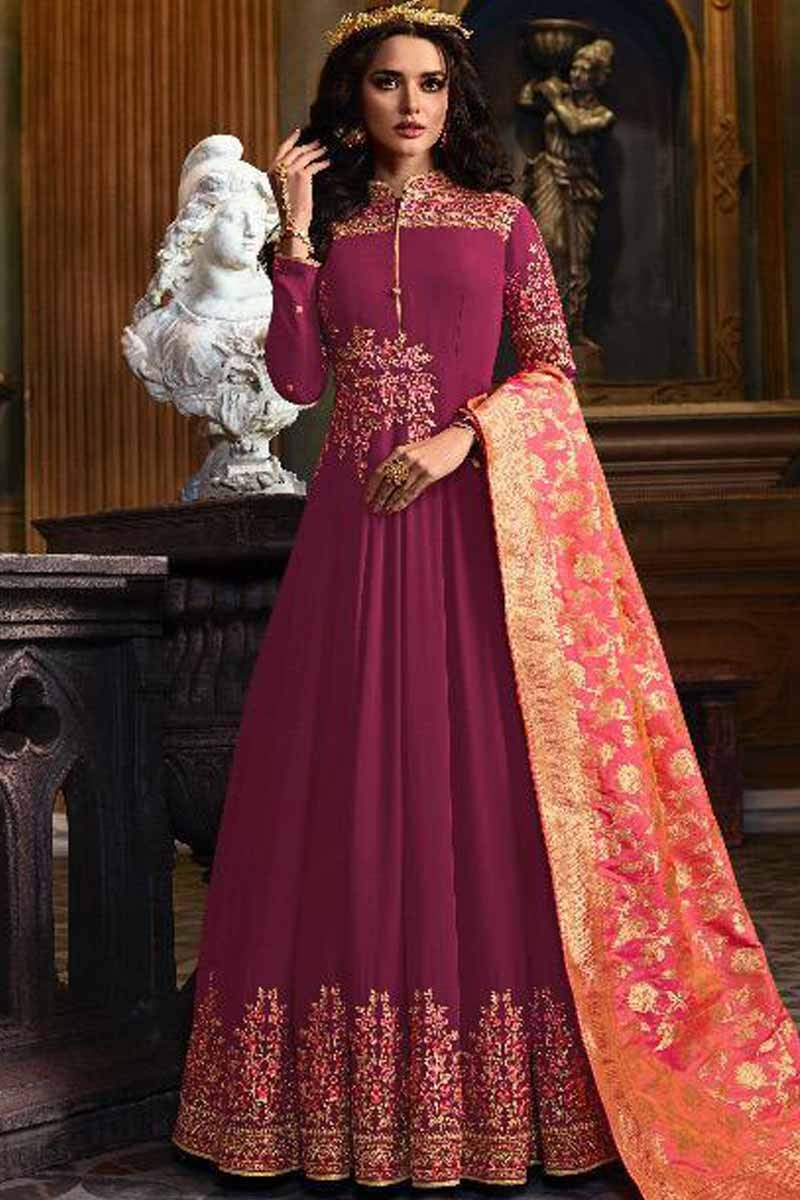 2a89c9573b Thumbnail Image of Faux Georgette Jazzberry Jam Color Anarkali Suit Display  Gallery Item 1 ...