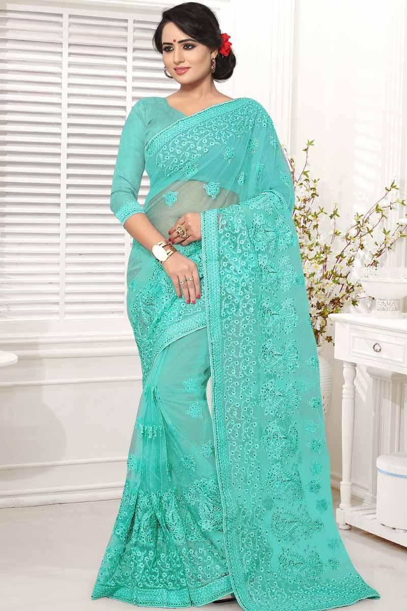 f281e4474b Buy Printed Saree Firozi Blue Net Asian Sarees Sweet Heart Neck ...
