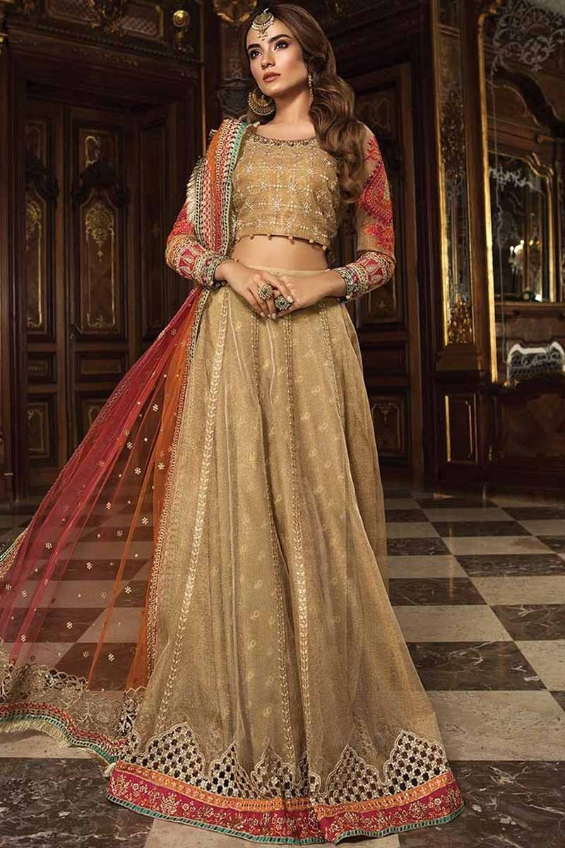 1dd049a586 Buy Golden Banarasi Silk Lehenga With Net Choli Online - LSTV02107 | Andaaz  Fashion