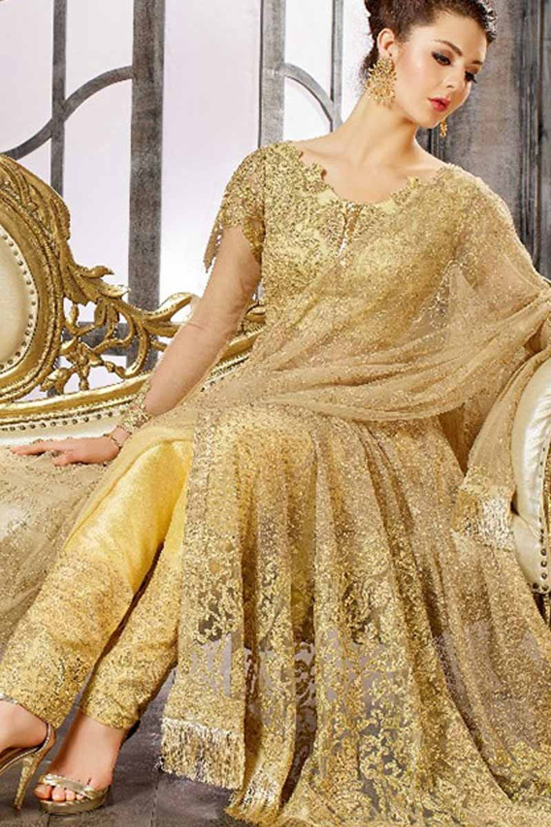 1ad2756dbd Buy Golden Satin Lehenga with Silk Choli Online - LSTV0723 | Andaaz ...