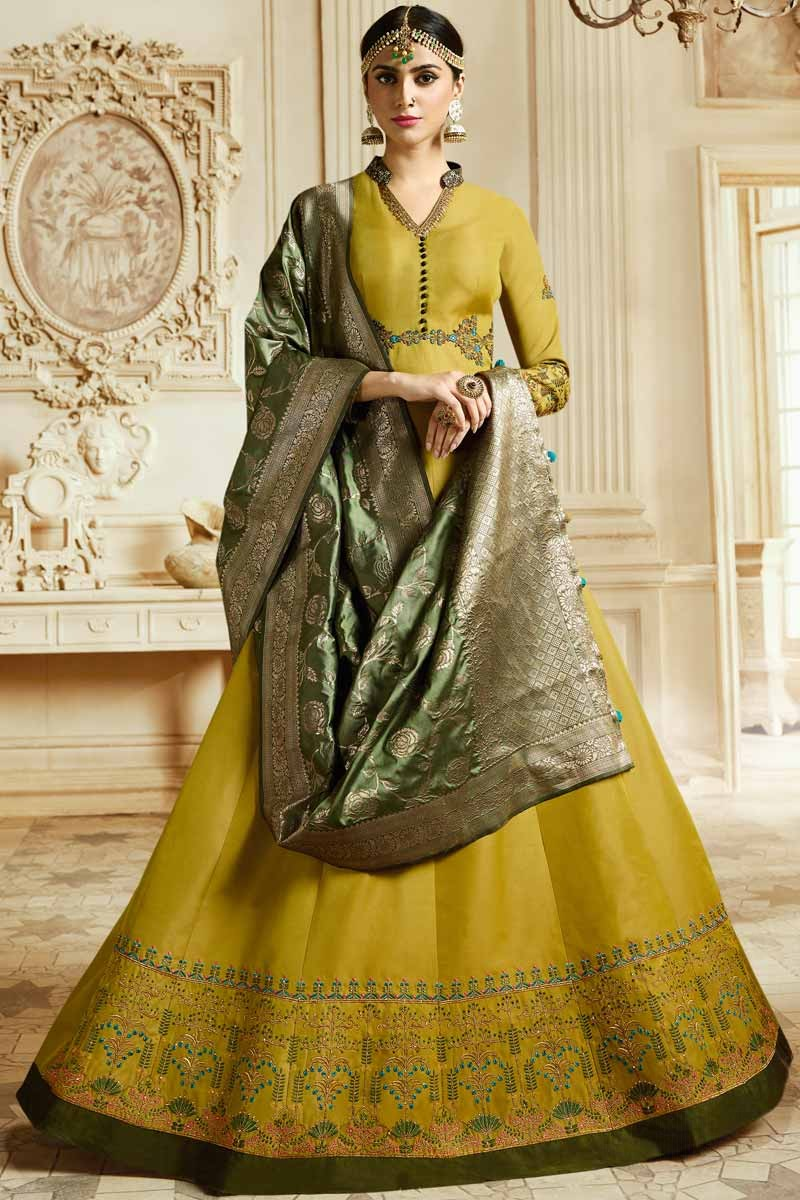 4e5398f394c Thumbnail Image of Gorgeous Silk Mustard Color Anarkali Suit Display  Gallery Item 1 ...