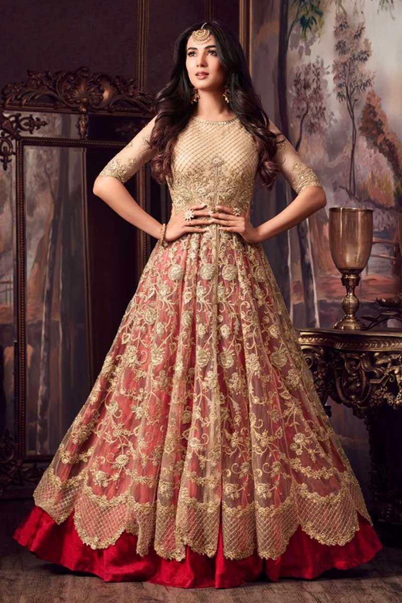 ee88a7339ca4 Buy Attractive Golden With Red Net Anarkali Suit With Resham Work Online -  LSTV0316   Andaaz Fashion