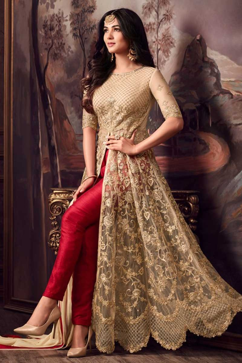 905469a7f770 Buy Attractive Golden With Red Net Anarkali Suit With Resham Work ...