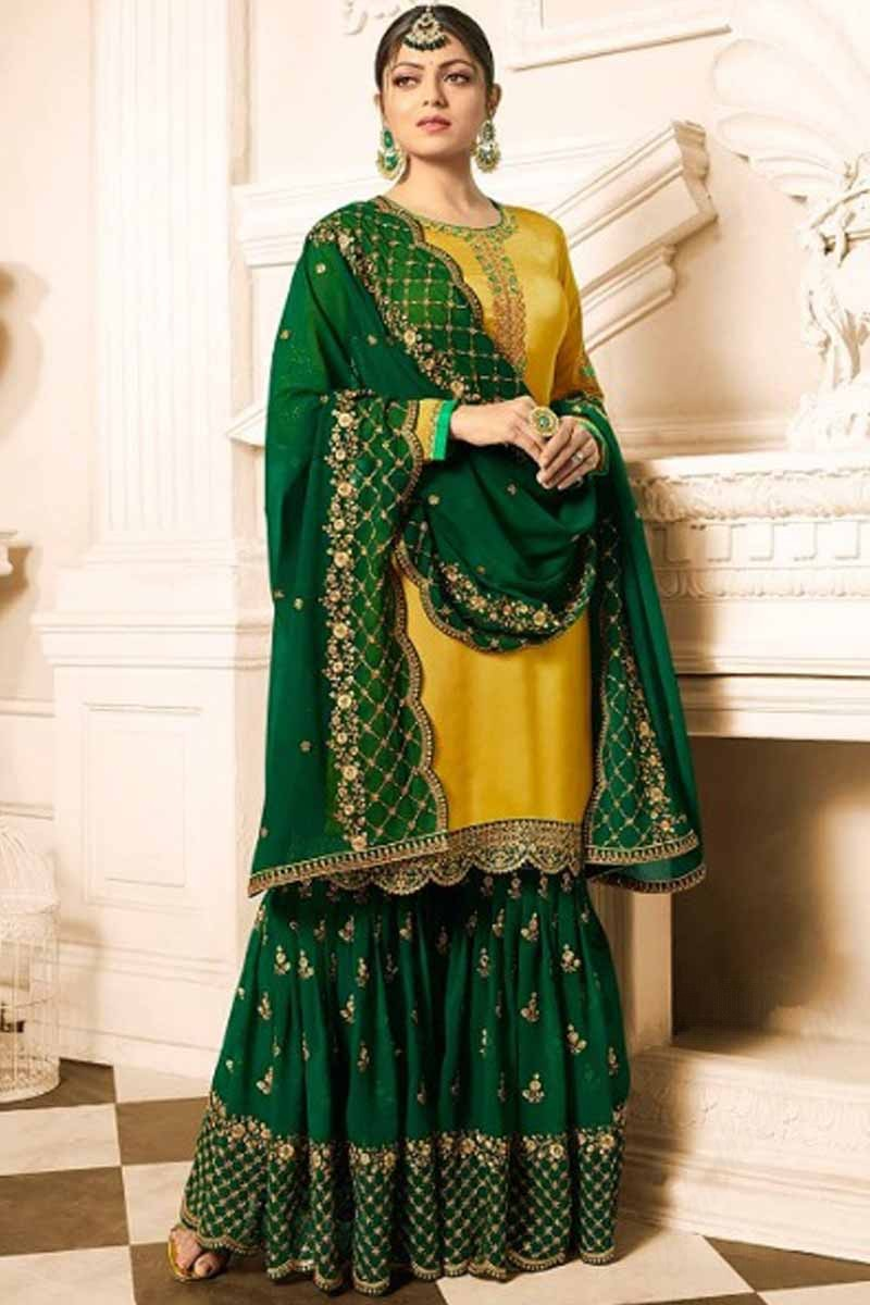 Buy Resham Embroidered Satin Yellow With Green Sharara Suit