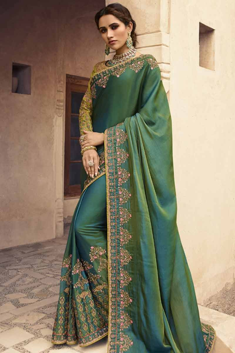 442917f5a26a31 Thumbnail Image of Dark Green Silk Saree With Art Silk Embroidered Blouse  Display Gallery Item 1 ...