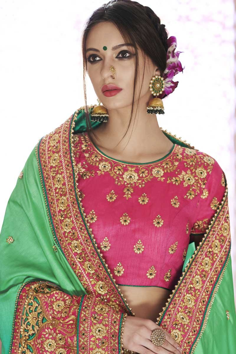 3efd95f5b5d2c Buy Green Satin Silk Saree with Pink Blouse Online - SARV0272 ...