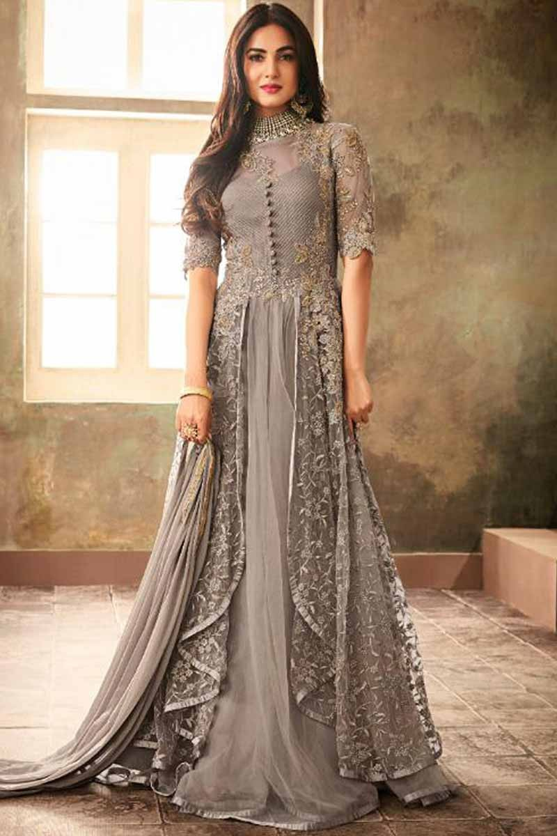 6aa5ce8f78 Thumbnail Image of Grey Net Embroidered Anarkali Suit Display Gallery Item  1 ...