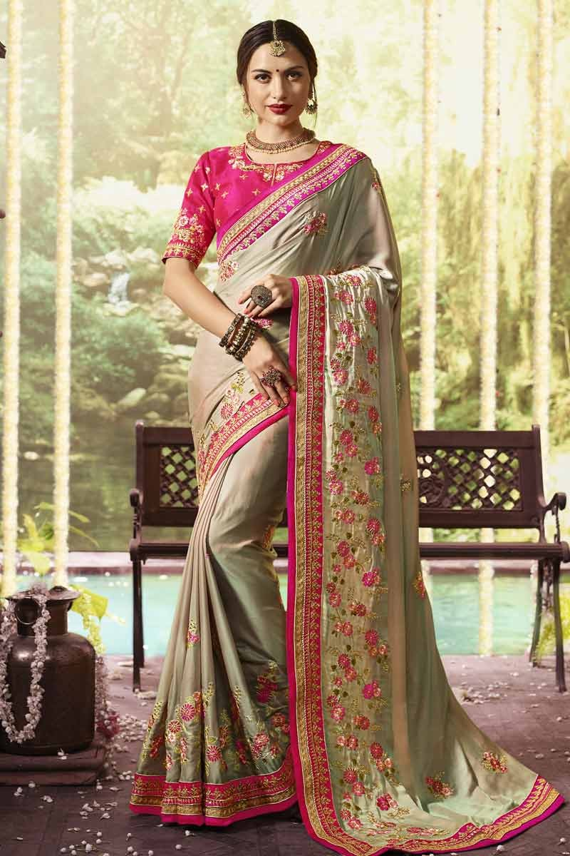 8068f57566 ... Dola Silk Saree With Pink Colour Blouse Display Gallery Item 1 ...
