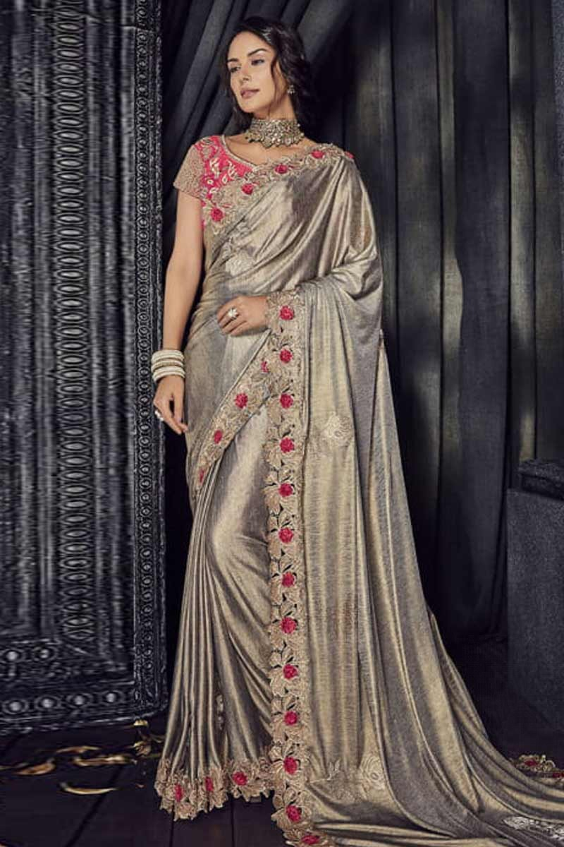 70d50e51ee775 Thumbnail Image of Grey Silk Saree With Satin Blouse Display Gallery Item 1  ...