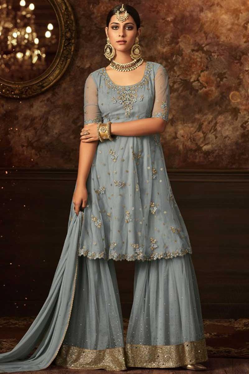 5bd0b98c77 Buy Lovely Grey Net Sharara Suit With Resham Work Online - LSTV0880 ...