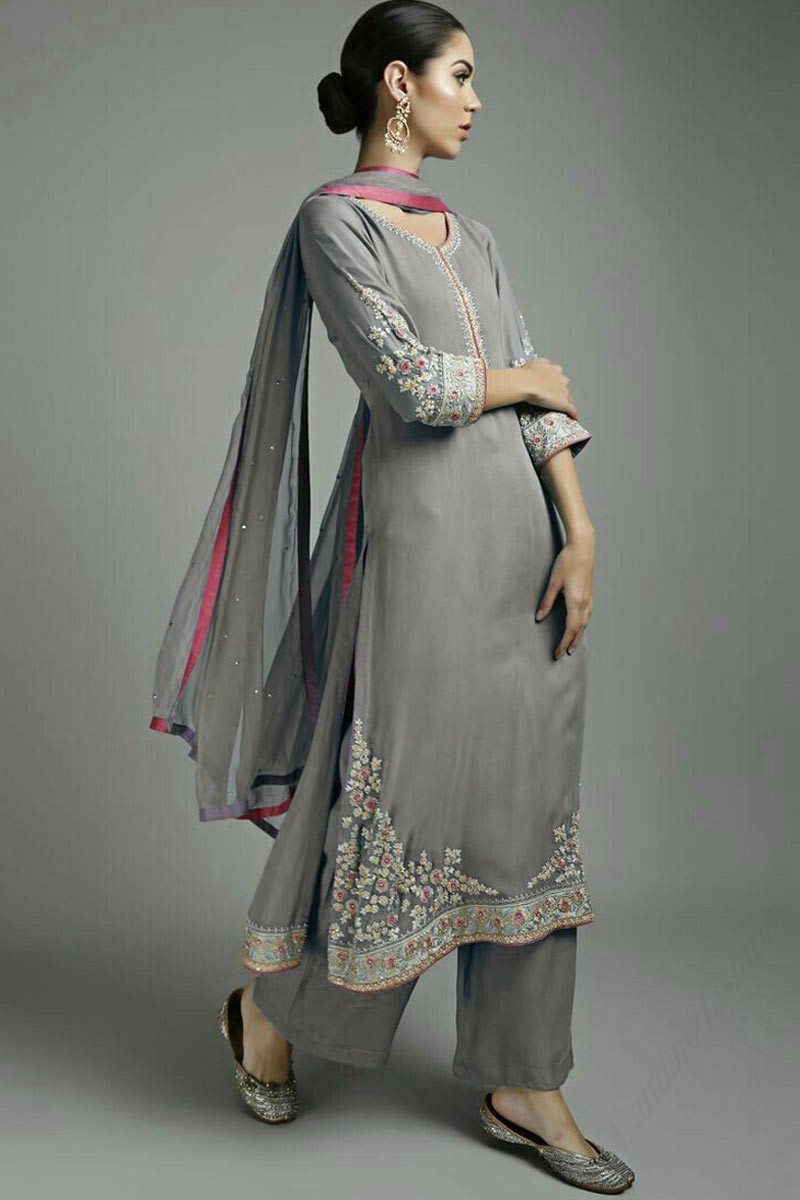 333f33575 Thumbnail Image of Grey Georgette Embroidered Straight Pant Suit Display  Gallery Item 1 ...