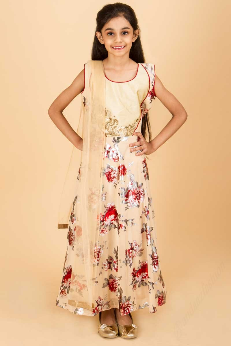 3f3995da52ca0 Sleeveless Cream Colored Printed Sleeveless Anarkali Suit
