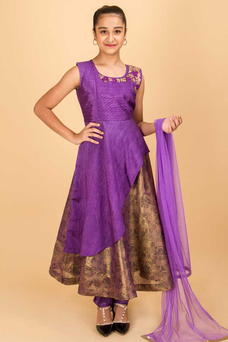 79e5e5d157517 Purple Brown Anarkali Suit With Embroidery On The Top