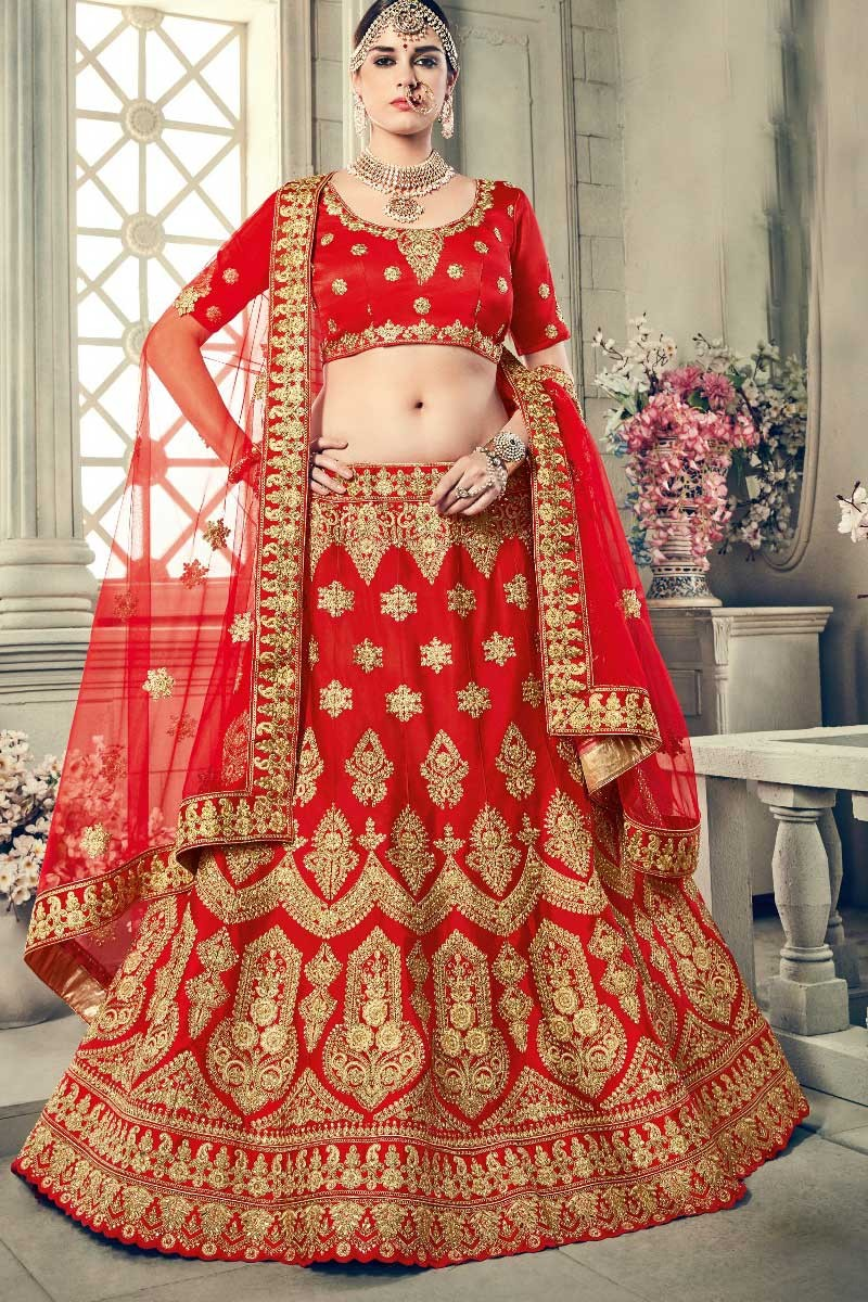 802bcc9dfb ... Red Art Silk Lehenga with Art Silk Choli Display Gallery Item 3